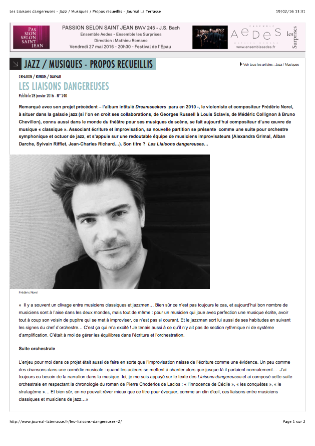 Les Liaisons dangereuses - Jazz - Musiques - Propos recueillis - Journal La Terrasse